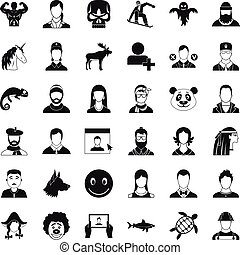 Privacy icons set, simple style - Privacy icons set. Simple...