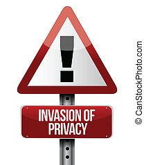 privacy, illustratie, meldingsbord, ontwerp, invasie, straat