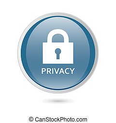 privacy lock icon,. blue glossy web icon