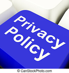 Privacy Policy Computer Key In Blue Showing Company Data...