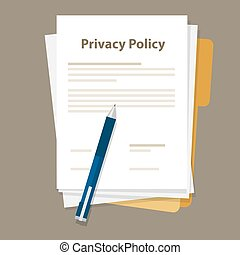 Privacy Policy document paper and pen vector