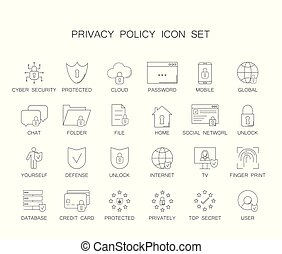 Privacy policy icon set.