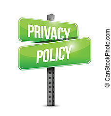 privacy policy road sign illustration design over a white ...
