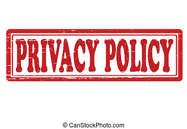 Stamp with text privacy policy inside, vector illustration