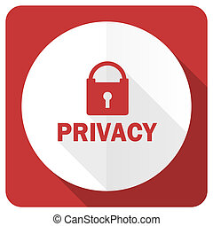privacy, rood, plat, pictogram
