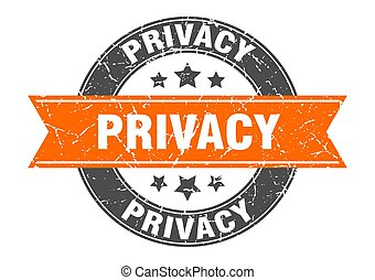 privacy round stamp with ribbon. label sign - privacy round ...