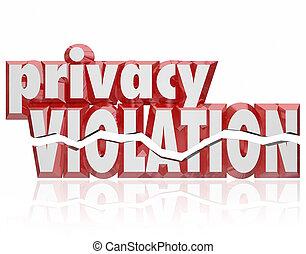 privacy, schending, 3d, woorden, gebarsten, brieven, invasie, particulier, info