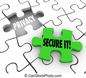 Privacy Secure It Words Puzzle Piece Gap Safety Private ...