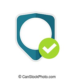 Privacy secure shield vector icon or insurance protection logo sign idea with blank empty copy space and check mark flat cartoon illustration, concept of guard guarantee or security defence symbol