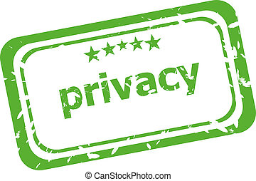 PRIVACY text, on vintage rectangle stamp sign.