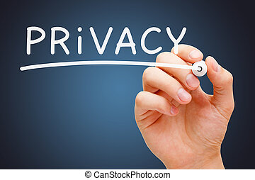 Privacy White Marker - Hand writing Privacy with white...