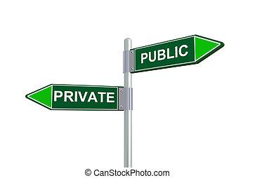 privado, 3d, público, sinal estrada