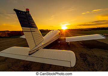 privado, avión de hélice, ocaso, trasero, cuádruple, ...