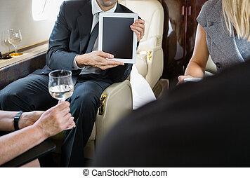 privado, colegas, reunião, jato, negócio