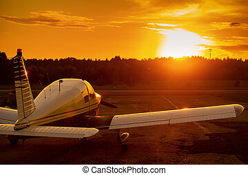 privado, fondo., avión, avión, ocaso, propulsor, trasero, ...