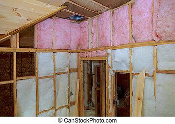 privado, house., inclinado, lana, mineral, techo, cuadro de pared, de madera, vidrio