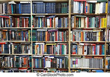 privado, library., pared, de, estantes, llenado, con, books.