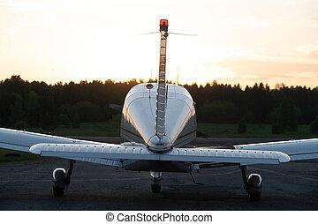privado, vista trasera, cuádruple, avión, propulsor, ...