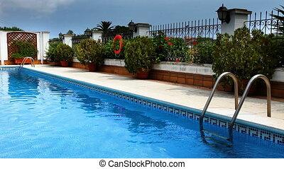 privat, luxus, teich, schwimmender