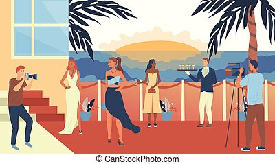 privat, marche, illustration, pellicule, long, poser, cocktails, club., coucher soleil, gens, rouges, plat, boisson, festival, paparazzi, dessin animé, vecteur, partie., concept, apprécier, moquette, célèbre, ou