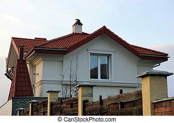 privat, tak, tegeltäckt, en, fasad, fönster logera, röd, grå, under