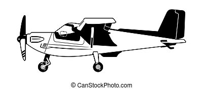 private aircraft - black and white illustration of a light...