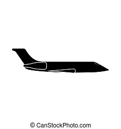 Private airplane it is black icon . Flat style