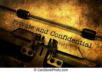Private and confidential letter on typewriter