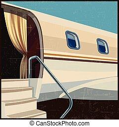 private aviation illustration retro poster