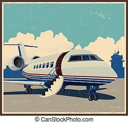 private aviation retro poster