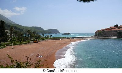 Private beach of the hotel Sveti Stefan, near the island....