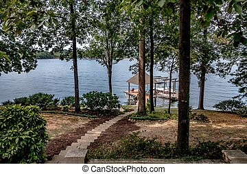 private boat ramp on a lake