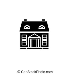 Private building black icon concept. Private building flat  vector symbol, sign, illustration.