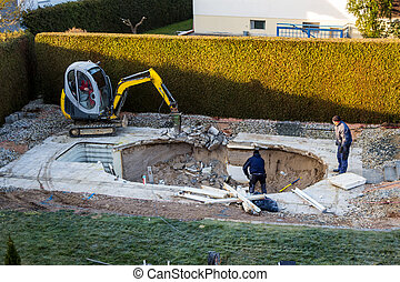 private building site - on a private swimming pool...