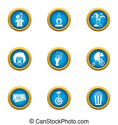 Private circus icons set, flat style