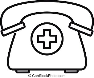 Private clinic telephone icon, outline style - Private ...