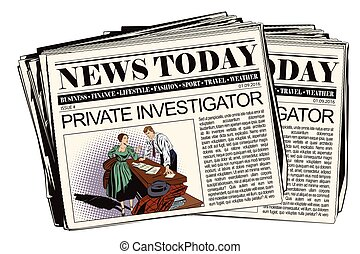 Private detective and girl in newspaper. - Stock...