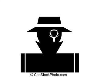 Private detective and investigator illustration monochrome