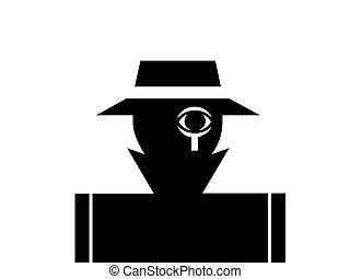 Private detective and investigator illustration monochrome