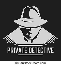 Private detective logo of vector man in hat for...