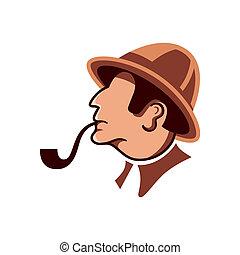 Private detective profile - Private detective with pipe...
