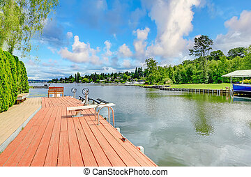 Private dock with chairs