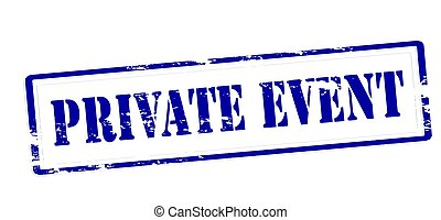 Stamp with text private event inside, vector illustration