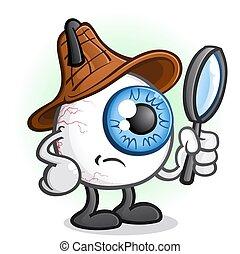 Private Eye Ball Detective Cartoon Character - An eye ball...