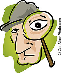 Private eye - Cartoon illustration of detective with...