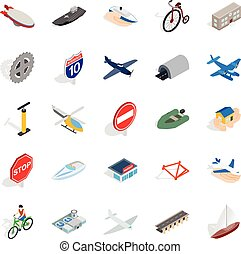 Private flying machine icons set, isometric style