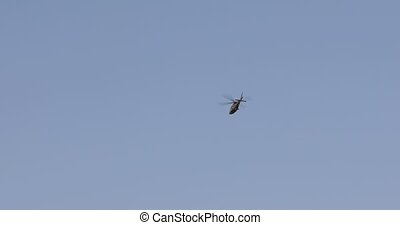 Private helicopter over the city