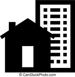 Private house and high-rise building icon