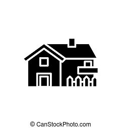 Private house black icon concept. Private house flat  vector symbol, sign, illustration.