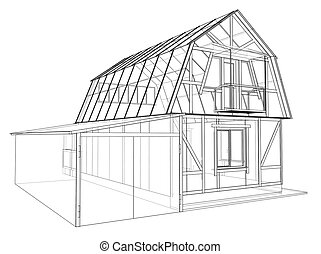 Private house sketch. Vector rendering of 3d